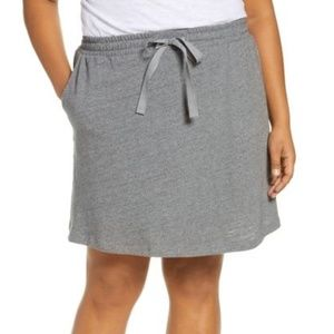 Caslon tie waist knit skirt pockets gray cozy